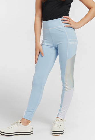 Panelled High Waist Leggings with Elasticated Waistband and Pocket