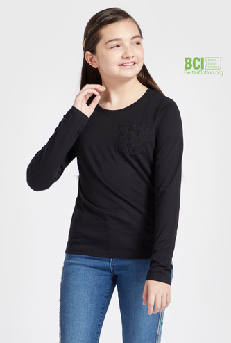 Solid T-shirt with Long Sleeves and Lace Pocket Detail
