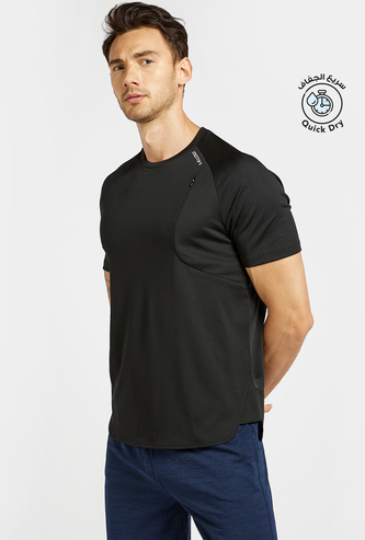 Solid T-shirt with Crew Neck and Raglan Sleeves