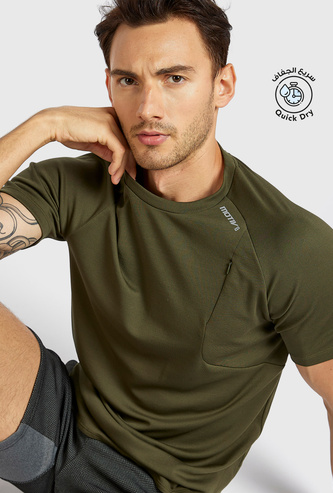 Solid T-shirt with Crew Neck and Mesh Detail