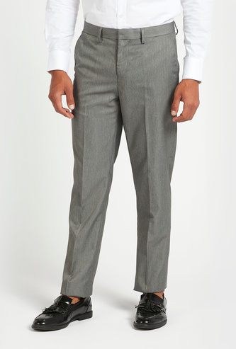 Solid Full Length Trousers with Pocket Details