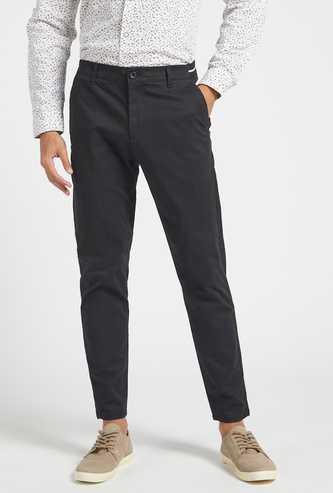 Solid Regular Fit Mid-Rise Chinos with Button Closure
