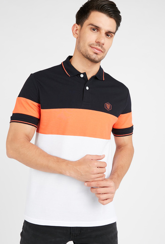 Colourblock Collared T-shirt with Short Sleeves