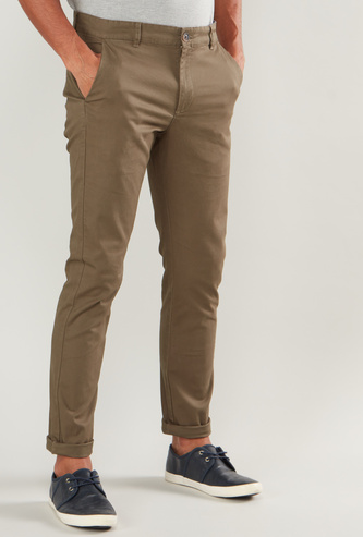 Skinny Fit Solid Chinos with Belt Loops and Pocket Detail