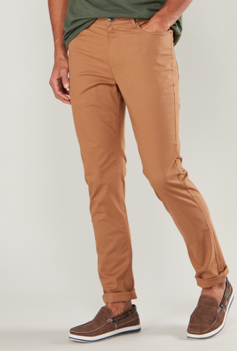 Slim Fit Solid Chinos with Belt Loops and Pocket Detail