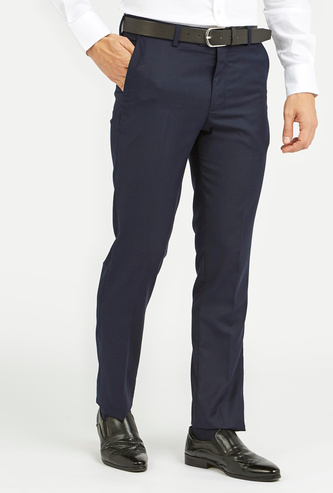 Slim Fit Solid Formal Trousers with Pocket Detail and Belt Loops