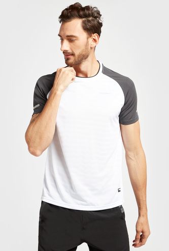 Jacquard Performance T-shirt with Round Neck and Short Sleeves