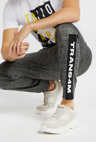 Slim Fit Text Print Jog Pants with Pocket Detail and Elasticised Waist