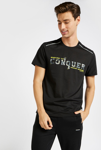 Printed Performance T-shirt with Round Neck and Short Sleeves