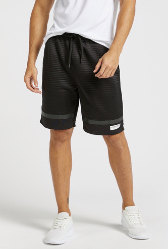 Textured Ottoman Shorts with Pockets and Drawstring Closure