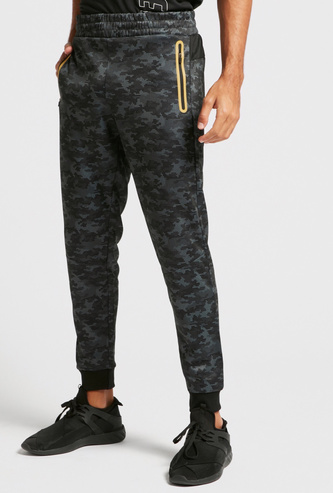 All-Over Camouflage Print Jog Pants with Pockets and Elasticised Waist