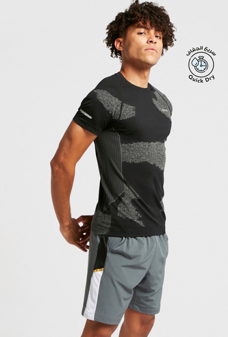 Slim Fit Printed Jacquard T-shirt with Crew Neck and Short Sleeves