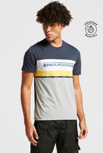 Text Print Panel Block T-shirt with Crew Neck and Short Sleeves