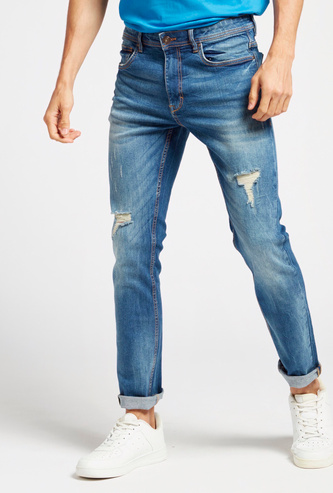 Skinny Fit Distressed Jeans with Pockets