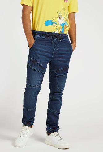 Slim Textured Jog Pants with Pocket Detail and Drawstring Closure