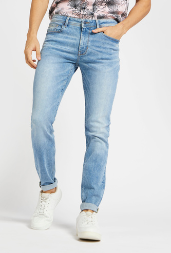 Full Length Jeans with Pockets and Button Closure