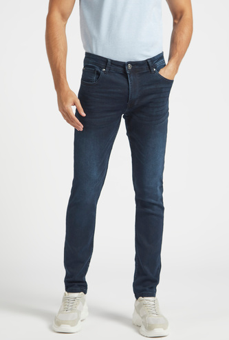 Skinny Fit Solid Mid-Rise Jeans with Belt Loops