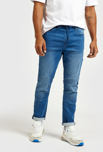 Panelled Pull-On Mid-Rise Jeans with 5-Pockets