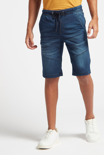 Slim Fit Solid Mid-Rise Denim Shorts with Pockets and Belt Loops