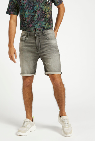 Slim Fit Textured Mid-Rise Shorts with Pockets and Roll-Up Hem