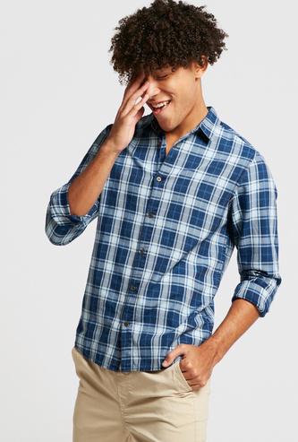 Checked Shirt with Long Sleeves and Collar