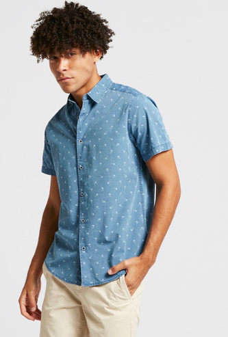 Printed Collared Denim Shirt with Short Sleeves