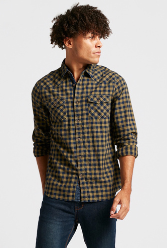 Gingham Checks Print Collared Shirt with Long Sleeves