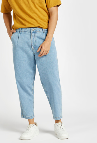 Loose Fit Solid Jeans with Pockets and Zip Closure