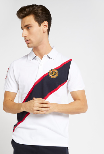 Diagonal Panelled Polo T-shirt with Short Sleeves