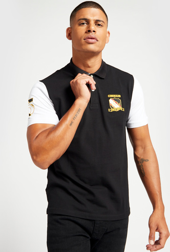Embroidered Detail Polo T-shirt with Contrast Sleeves