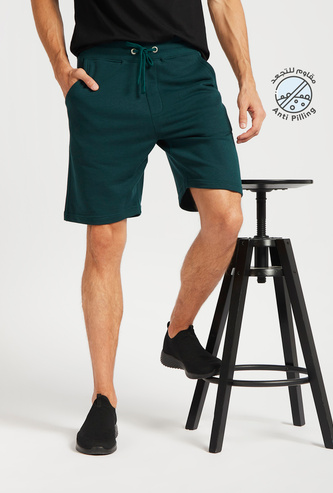 Solid Shorts with Pockets and Elasticated Drawstring Waistband