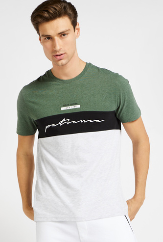Colourblock Panel Detail T-shirt with Round Neck and Short Sleeves