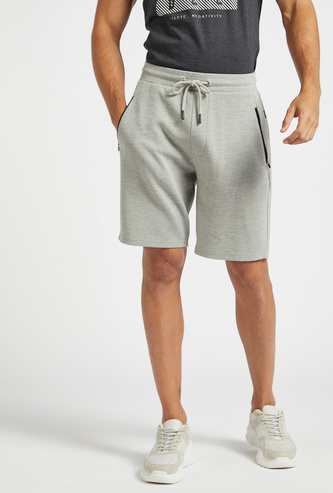Textured Ottoman Shorts with Elasticated Drawstring Waist