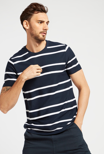 Jacquard Striped Round Neck T-shirt with Short Sleeves