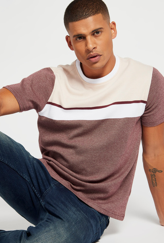 Solid Pique T-shirt with Round Neck and Short Sleeves