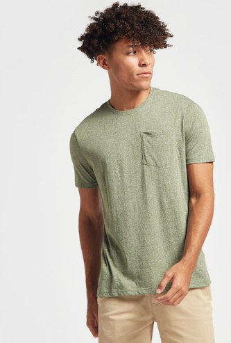 Slim Fit Textured T-shirt with Crew Neck and Pocket Detail