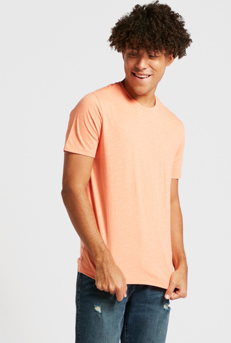 All-Over Injected Print T-shirt with Crew Neck and Short Sleeves