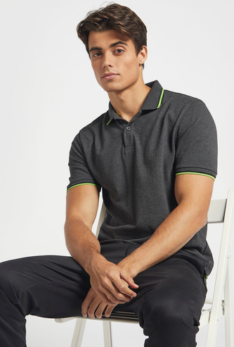 Textured Regular Fit Polo T-shirt with Short Sleeves