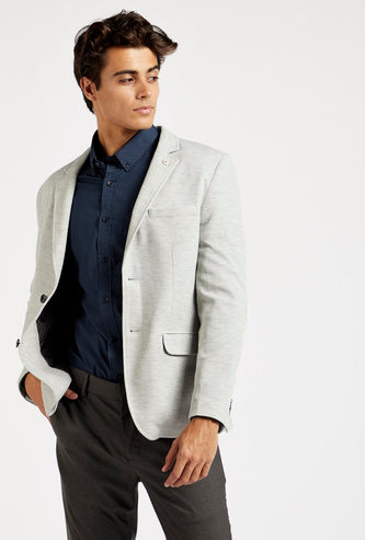 Slim-Fit Textured Blazer with Long Sleeves and Pockets