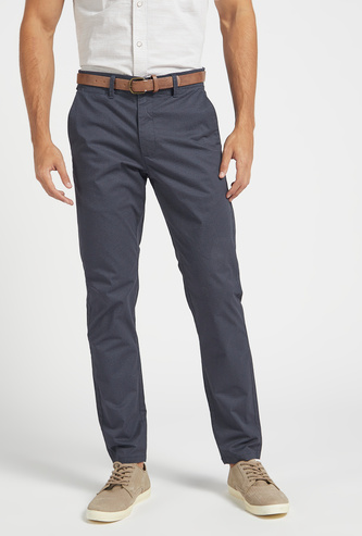 Slim Fit All-Over Print Mid-Rise Chinos with Pocket Detail