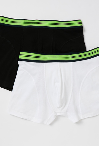 Pack of 2 - Solid Trunks with Wide Elasticised Waistband