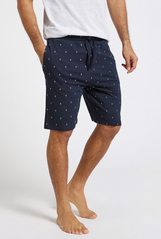 All-Over Print Shorts with Pockets and Drawstring