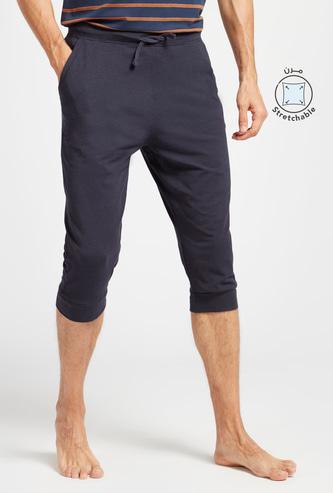 Solid 3/4 Shorts with Drawstring Closure