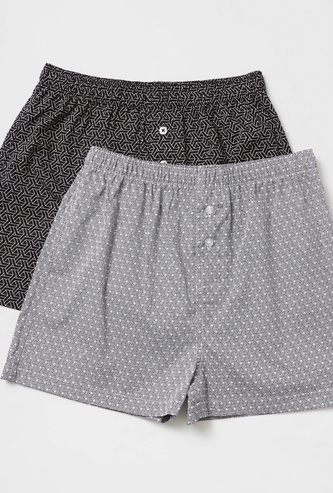Set of 2 - All-Over Print Woven Boxers with Elasticised Waistband