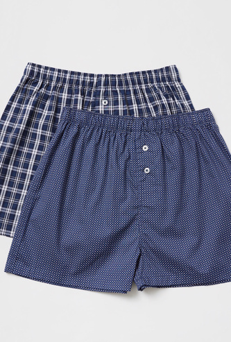 Set of 2 - Printed Woven Boxers with Elasticised Waistband