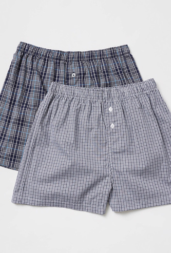 Pack of 2 - Checked Boxers with Elasticised Waistband