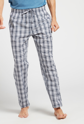 Checked Full Length Woven Lounge Pyjamas with Pockets