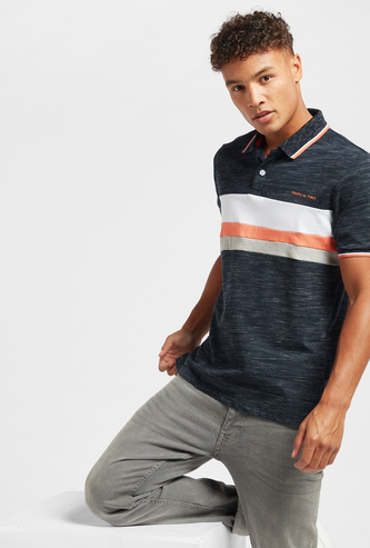 Injected Print Panel Detail Polo T-shirt with Short Sleeves