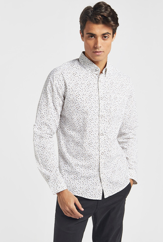 Ditsy Print Shirt with Collar and Long Sleeves