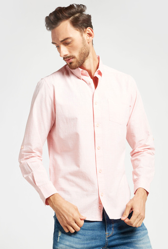Solid Shirt with Long Sleeves with Patch Pocket